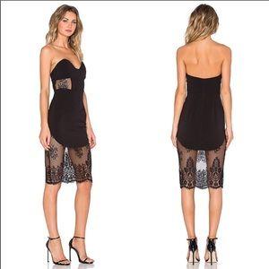 NBD Picture Me Black Lace Strapless Dress XS